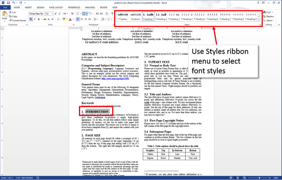 Word 2013 screenshot with Styles ribbon highlighted and one heading outlined.