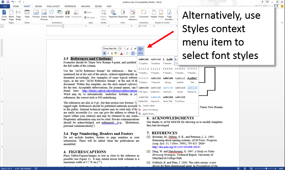 Word 2013 screenshot with styles context menu showing and font styles option open to show available styles.
