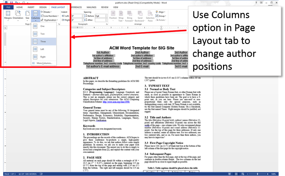 Word 2013 screenshot with Columns option opened up.