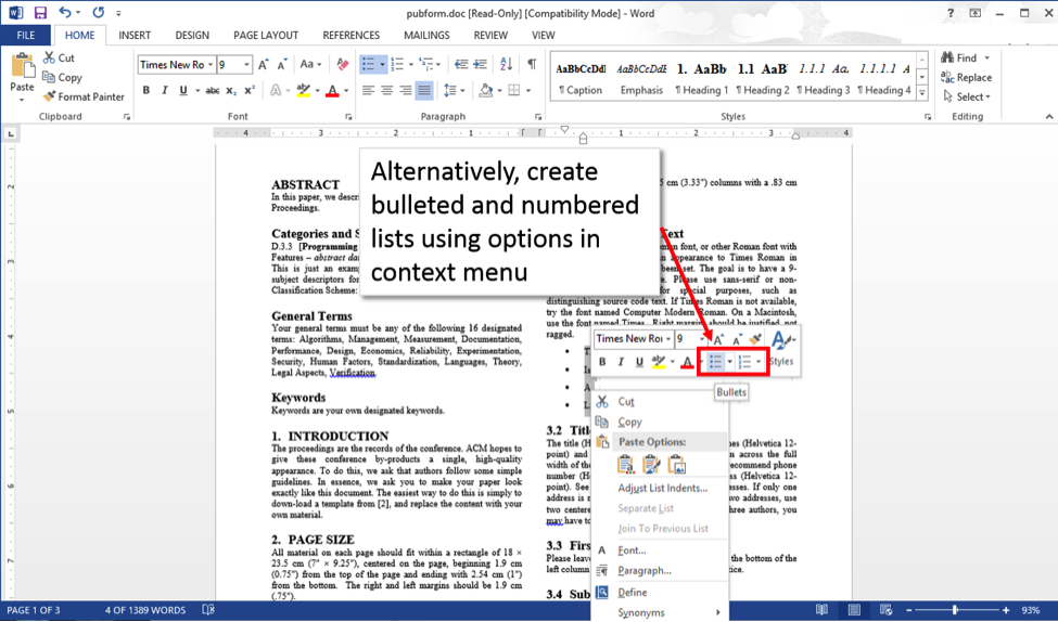 Word 2013 screenshot with context menu open, and list options displayed.