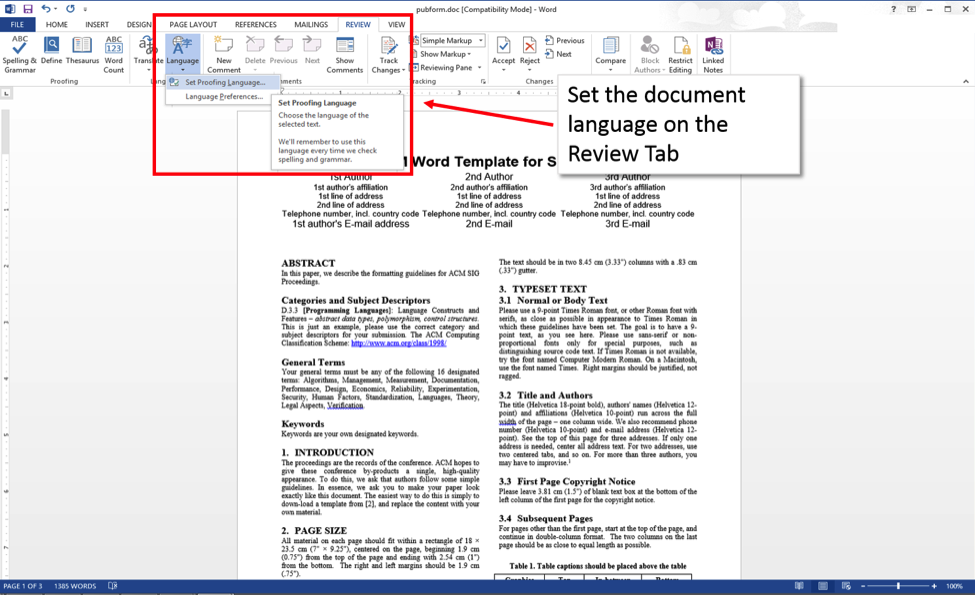 Word 2013 screenshot showing review tab with 'Set Proofing Language menu item selected.