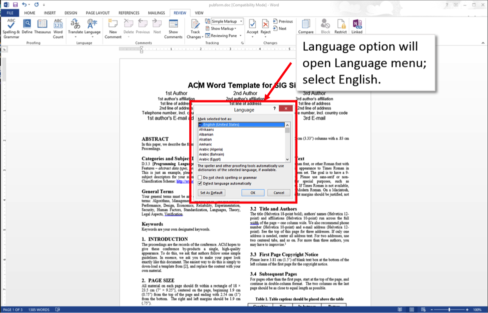 Word 2013 screenshot showing dialog box for language selection.