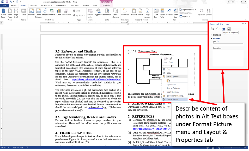 Word 2013 screenshot showing a figure in a document with the context menu open and 'Format Picture' selected.