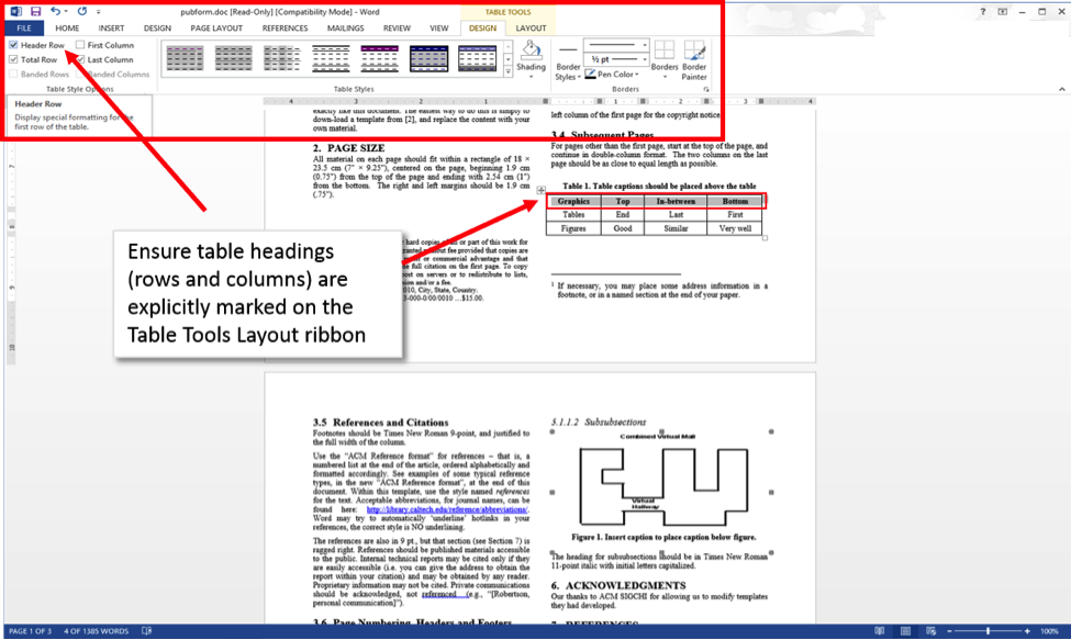 Ensure table headings (rows and columns) are explicitly marked on the Table Tools Layout ribbon.  Word 2013 screenshot showing Table Tools ribbon.