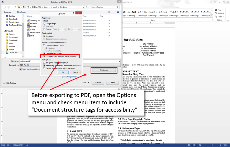 Word 2013 screenshot showing Options menu with 'Document structure tags for accessibility' option highlighted.