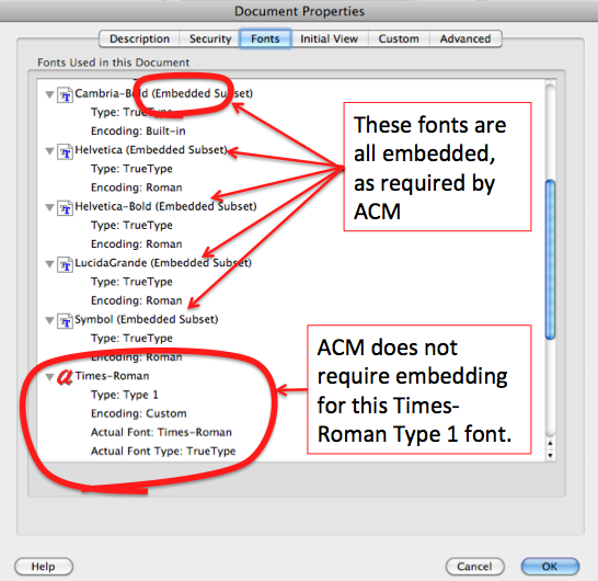 'Fonts' tab of 'Document Properties' dialog.  Fonts are listed in a scrollable box labelled 'Fonts used in this document'. The first font visible is 'Symbol (Embedded Subset) Type: TrueType, Encoding: Roman'.  The second is 'Times-Roman, Type: Type 1, Encoding: Custom Actual Font: Times-Roman, Actual Font Type: TrueType'