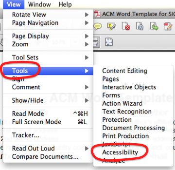 View menu, with Tools submenu opened. 'Accessibility' is the 11th of 12 options.