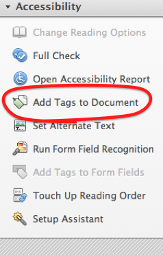 Accessibility tools. 'Add Tags to Document' is the 4th of 9 options