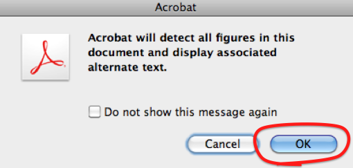 'Acrobat' dialog box saying 'Acrobat will detect all figures in this document and display associated alternate text' with Cancel and OK options.