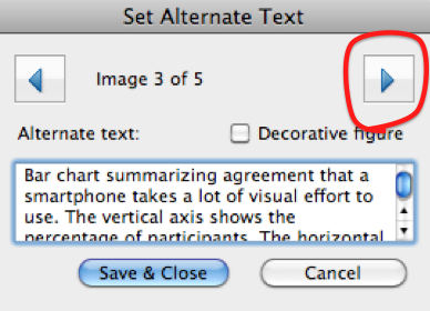 'Set alternate Text' dialog box with right arrow highlighted.