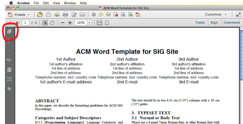 Top of document window, with 'Page Thumbnails' button in left hand toolbar highlighted.