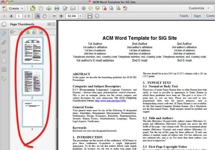 'Page Thumbnails' view open on left of document. It shows each page of the document. All pages are selected.