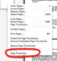 Context menu with 14 options. 'Page properties is the 14th.