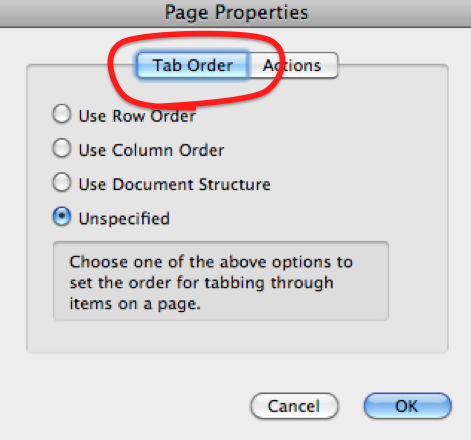 'Page Properties' dialog. It has 2 primary tabs: Tab Order and Actions. Tab order is highlighted.