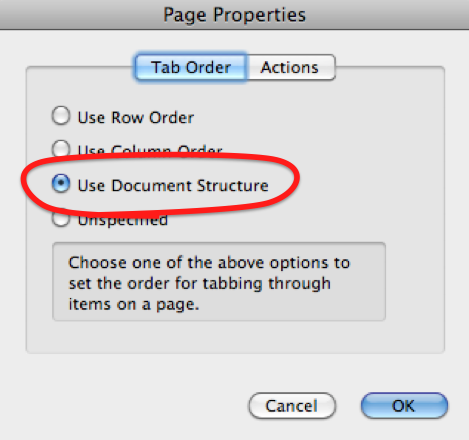 'Page Properties' dialog. The 'Tab Order' tab is selected. 'Use Document Structure' is the 3rd of 4 options.