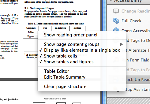 Context menu with 8 options. 'Table editor' is the 6th.