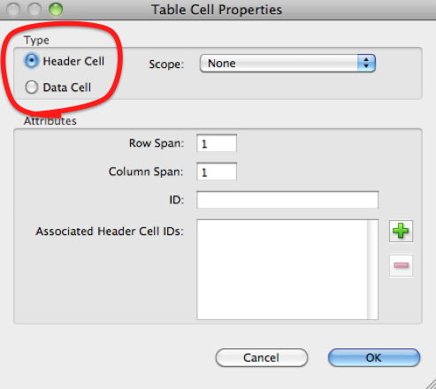 'Table Cell Properties' dialog.  In the 'Type' area, the radio boxes 'Header Cell' and 'Data Cell' are highlighted.