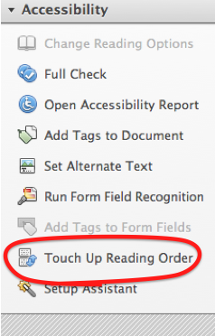 Accessibility tools. 'Touch Up Reading Order' is the 8th of 9 options