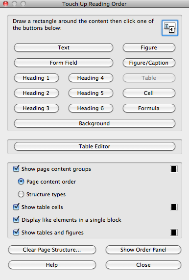 'Touch Up Reading Order' dialog box. Instructs users to 'Draw a rectangle around the content then click one of the buttons below'. Buttons include 'Text', 'Figure', 'Table' and Heading 1 to Heading 6.
