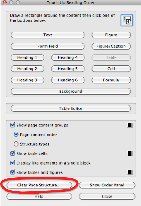 'Clear page structure' is the 4th last button in the 'Touch Up Reading Order' dialog