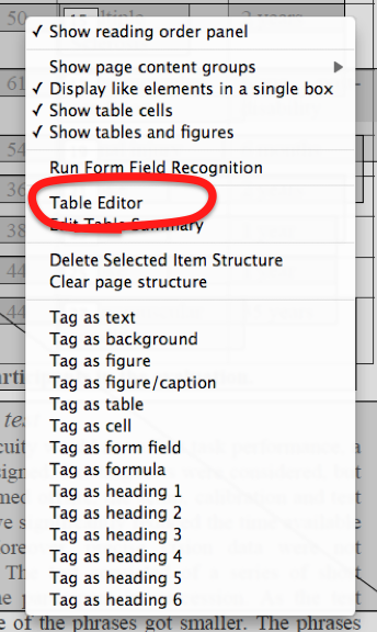 'Table editor' is the 7th of 24 entries in the context menu.