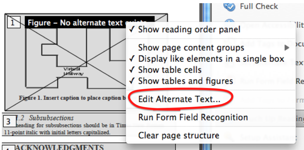 'Edit Alternate Text' is the 6th of 8 options in the context menu.
