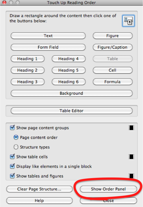The 'Open Order Panel' button is the third last item in the 'Touch Up Reading order' dialog.